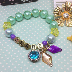 8 Princess Jasmine custom bracelet name pearl bead